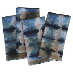 Silver Grey and Blue Indigo Pleat Linen Napkins set of 4