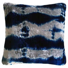Silver Grey and Blue Indigo Pleat Velvet Pillow with Linen Backing