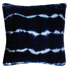 Silver Grey and Blue Indigo Stripes Velvet Pillow with Linen Backing
