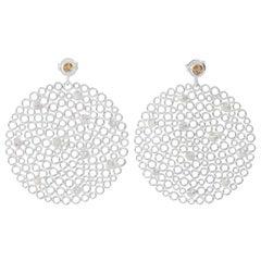 Silver Grey and Cinnamon Diamond Earrings