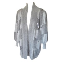 Silver Grey Angora Wool Vest with Silver Sequins