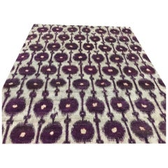 Silver Grey Purple Contemporary Silk Hand Knotted Rug with Red Outline