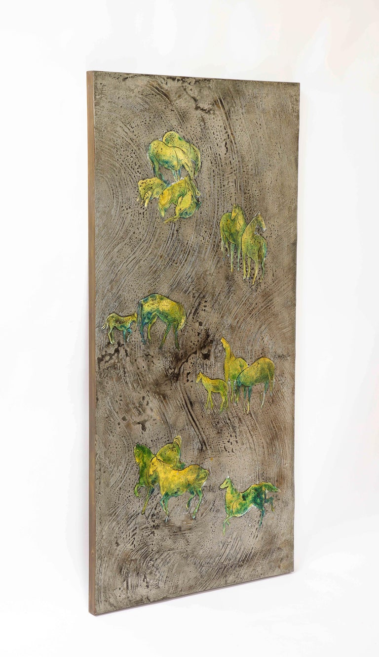 Silver-Ground Iridescent Green Horse Wall Panel, by Philip and Kelvin LaVerne For Sale 2