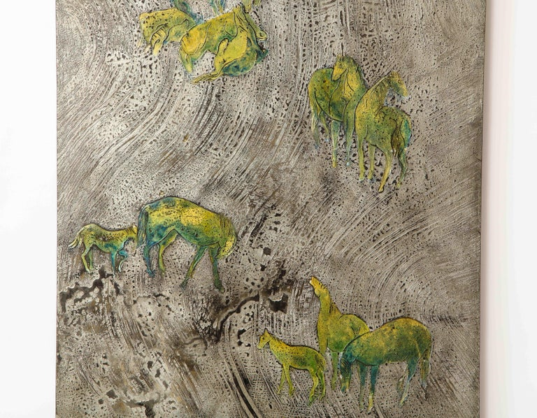 American Silver-Ground Iridescent Green Horse Wall Panel, by Philip and Kelvin LaVerne For Sale