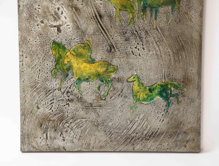 Etched Silver-Ground Iridescent Green Horse Wall Panel, by Philip and Kelvin LaVerne For Sale