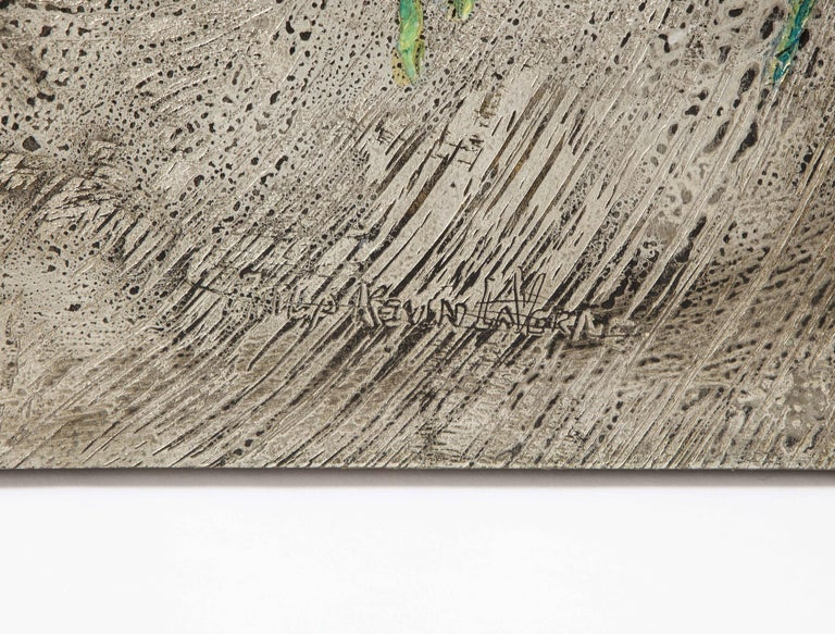 Silver-Ground Iridescent Green Horse Wall Panel, by Philip and Kelvin LaVerne In Good Condition For Sale In New York, NY