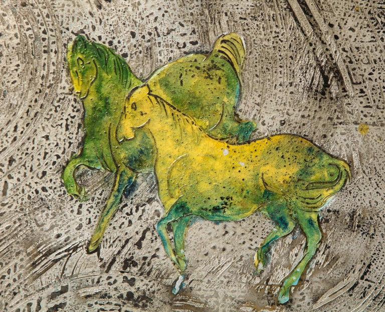 Mid-20th Century Silver-Ground Iridescent Green Horse Wall Panel, by Philip and Kelvin LaVerne For Sale