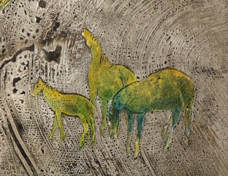 Metal Silver-Ground Iridescent Green Horse Wall Panel, by Philip and Kelvin LaVerne For Sale