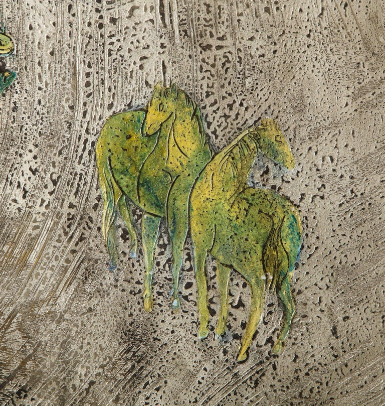 Silver-Ground Iridescent Green Horse Wall Panel, by Philip and Kelvin LaVerne For Sale 1