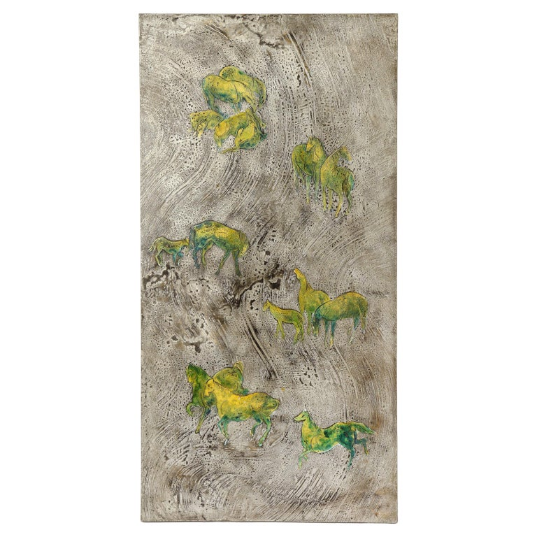 Silver-Ground Iridescent Green Horse Wall Panel, by Philip and Kelvin LaVerne For Sale