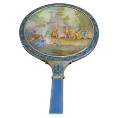 Silver, Guilloche Enamel, Hand Painted Enamel and Watercolor Hand Mirror