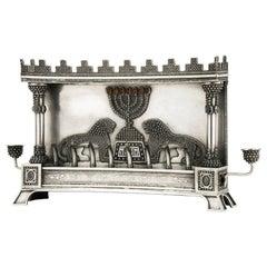 Early 20th Century Silver Hanukkah Lamp Menorah by Bezalel School Jerusalem