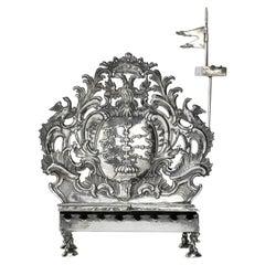 Silver Hanukkah Lamp Menorah by Rötger 'Rudiger' Herfurth, Germany, circa 1750