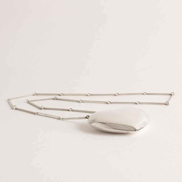 Modernist Silver Heart Necklace from Hermann Siersbøl, Denmark, 1960s For Sale