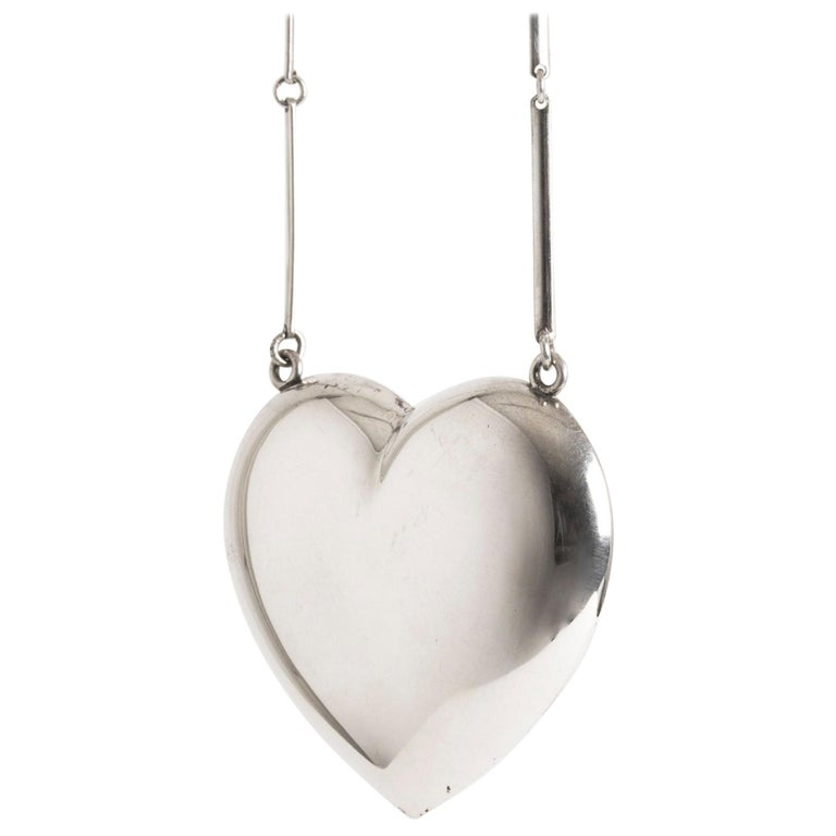 Silver Heart Necklace from Hermann Siersbøl, Denmark, 1960s For Sale
