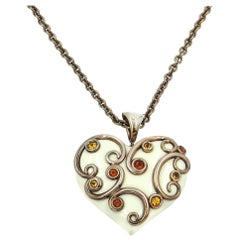 Silver Heart Pendant with White Enamel, Yellow Citrine, Madera Citrine