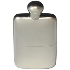 Sterling Silver Hip Flask, hallmarked 1907.