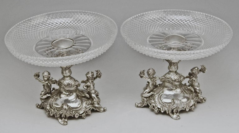 Silver German pair of centrepieces / centerpieces with original glass platters, made by Bruckmann and Sons (GERMANY).