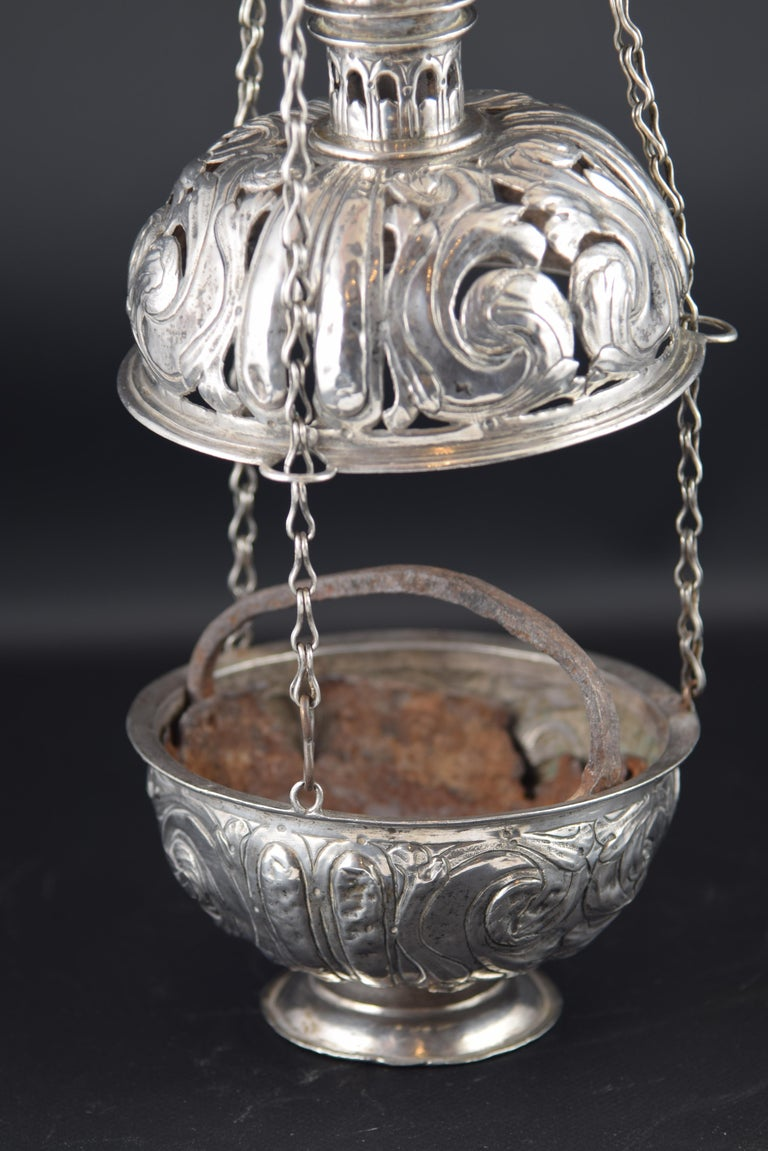 Baroque Silver Incense Burner, Spain, 17th Century For Sale