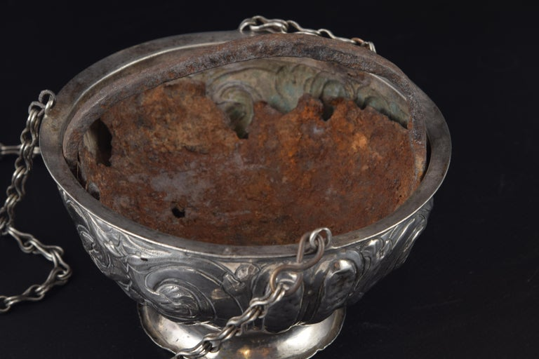 Spanish Silver Incense Burner, Spain, 17th Century For Sale
