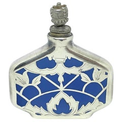 Silver Inlay Perfume Bottle with Light Blue China Porcelain, Early 20th Century