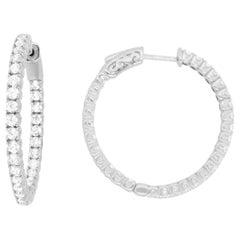 Silver Inside Out CZ Hoop Earrings
