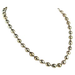 Silver, Iridescent Tahitian Pearl Necklace with Silver Accents June Birthstone