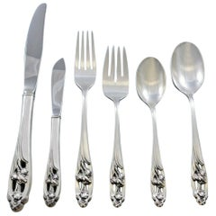 Silver Iris by International Sterling Silver Flatware Set for 6 Service 36 Pcs