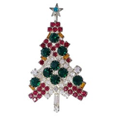 Silver Jeweled Vintage Christmas Tree Pin Brooch, Red White and Green Crystals