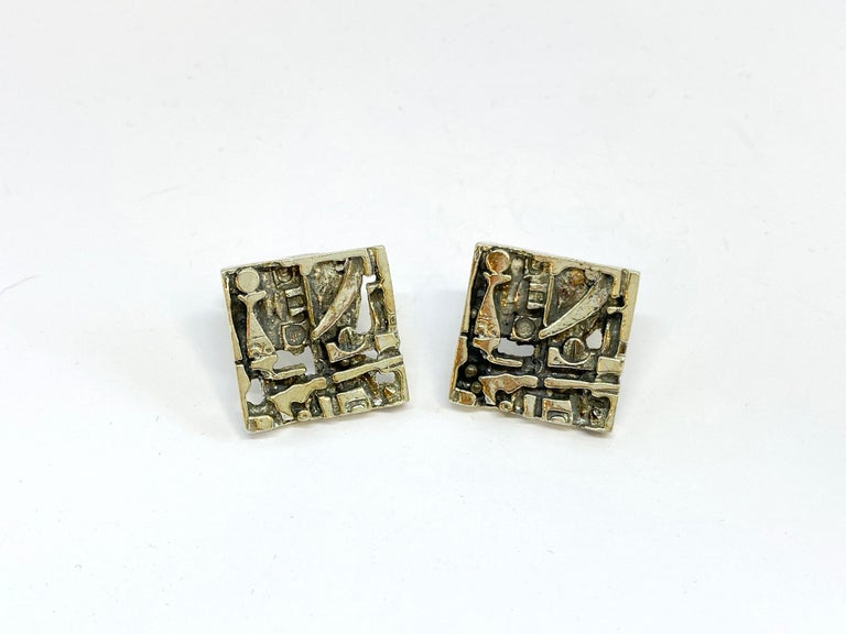 Modernist Silver Jorma Laine Turun Hopea 1976 Abstract Cufflinks For Sale