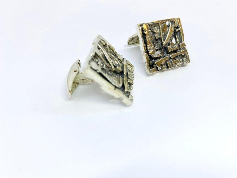 Silver Jorma Laine Turun Hopea 1976 Abstract Cufflinks For Sale 3