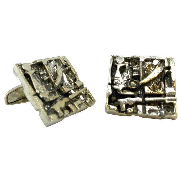 Silver Jorma Laine Turun Hopea 1976 Abstract Cufflinks For Sale