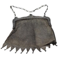 Silver Knitted Handbag, Early 20th Century