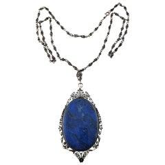 Silver Large Filigree Lapis Pendant Necklace