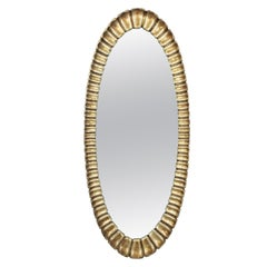 Silver Leaf Carved Wood Scalloped Oval Mirror, Spain, 1950s