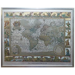 Silver Leaf Foil Wall World Map Engraving Based on the Original Moses Pitt, 1681