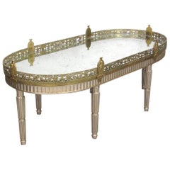 Silver Leaf French Louis XVI Style Gilt Bronze Mirrored Plateau or Coffee Table