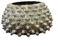 Silver Leaf Glass Spiky Bowl, Italy, Mid Century