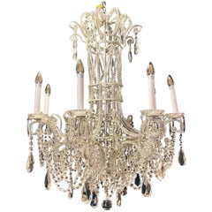 Silver Leaf Iron Chandelier with fine Crystal Bead and Pendant Decoration