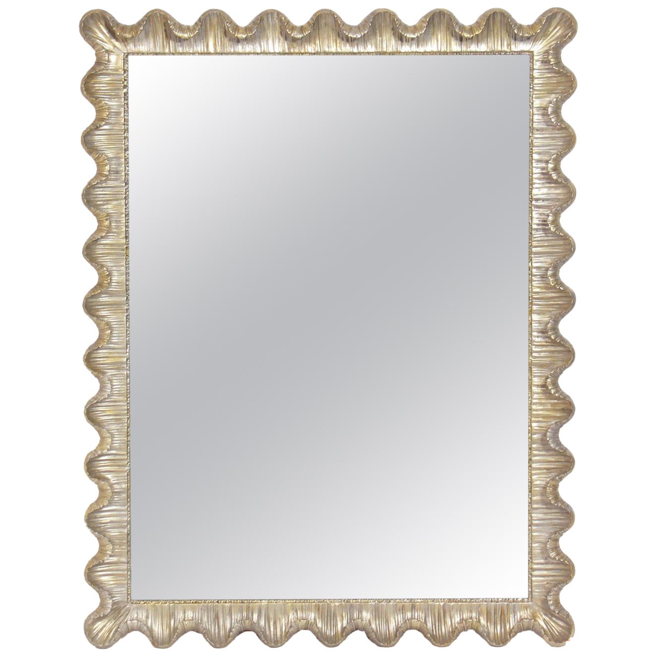 Silver Leaf Scalloped Mirror