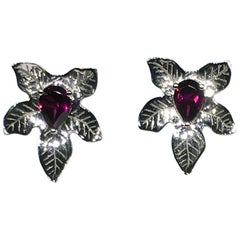 Rhodolite Garnet Silver Leaf Stud Earrings
