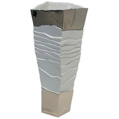 Silver Leaf Top and Bottom Porcelain Ribbed Vase, Italy, Contemporary