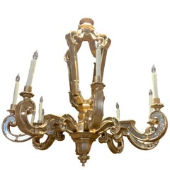 Silver Leaf Wood Carved Chandelier with Mirrors Inlaid and Scrolling Arms