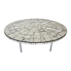 Silver Leafed Glass Mosaic French Round Coffee Table on Chrome Legs