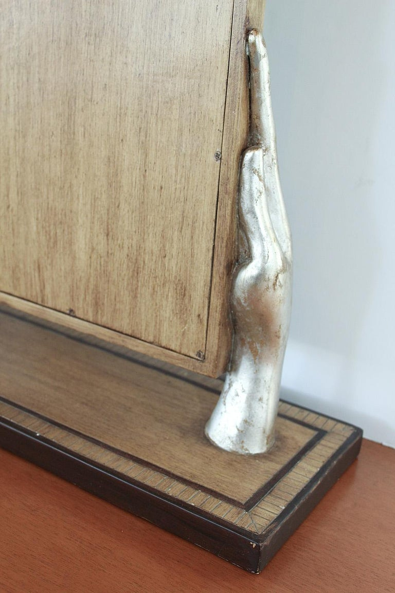 Silver Leafed Surrealist Table Mirror, circa 1980 For Sale 4
