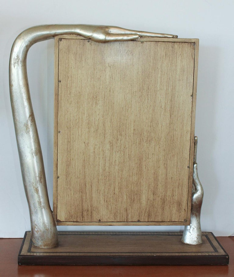 Wood Silver Leafed Surrealist Table Mirror, circa 1980 For Sale