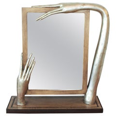 Silver Leafed Surrealist Table Mirror, circa 1980