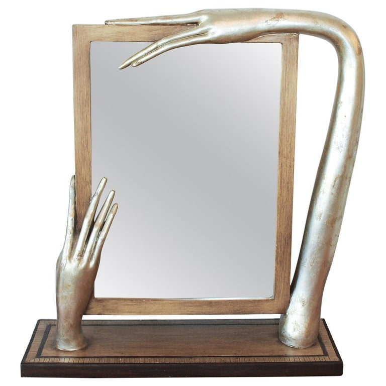 Silver Leafed Surrealist Table Mirror, circa 1980 For Sale