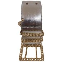 Silver leather gold hardware handmade belt NWOT