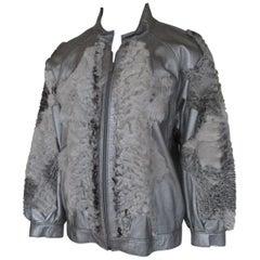 Silver Leather Persian Lamb/Astrakhan Fur Jacket